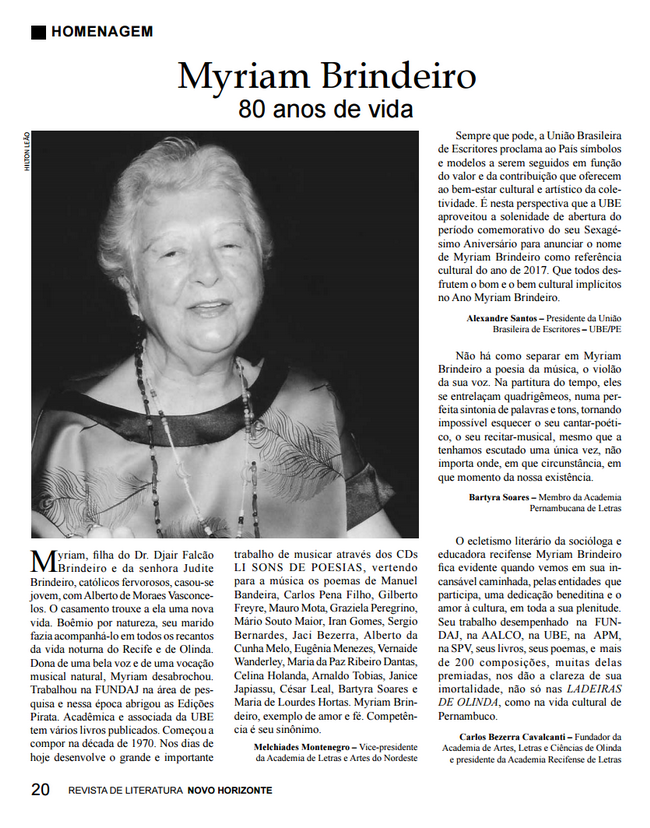 Revista Novo Horizonte, edição 2017, print da página 20.