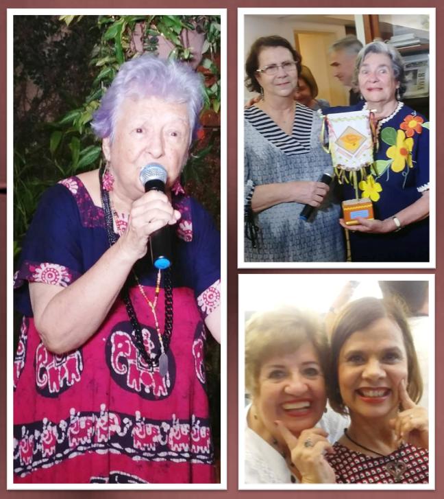 Myriam Brindeiro canta homenageando Eugênia Menezes. Recife, Cultura Nordestina, 6 de abril de 2018. À direita, Salete Rêgo Barros e Eugênia Menezes e Coly Holanda com Bernadete Bruto.