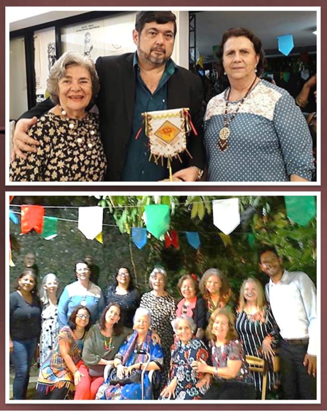 Na foto do topo, o homenageado Cássio Cavalcante ladeado por Eugênia Menezes e Salete Rego Barros. Abaixo, Myriam e amigos prestigiando o evento.
